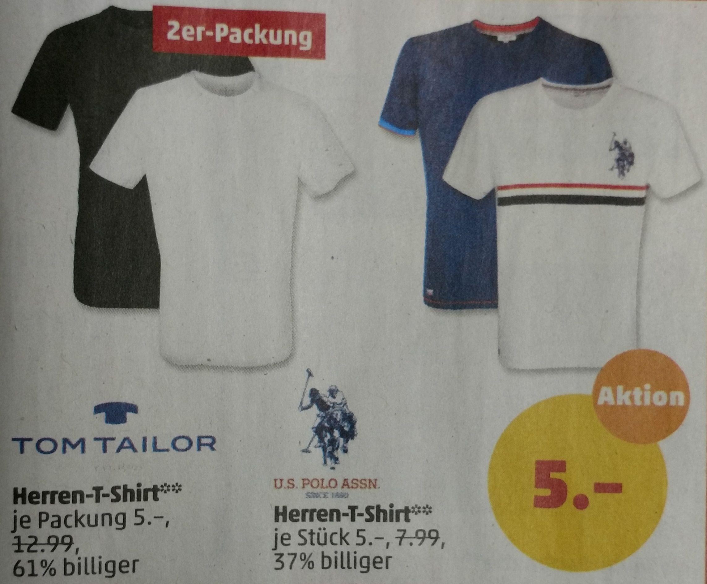 Tom Tailor oder U.S. Polo Assn. Herren Kurzarm T-Shirt mit Rundhalsausschnitt [Lokal Penny Limburg]