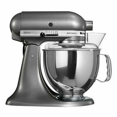 KitchenAid Artisan 5KSM150PSC Küchenmaschine inkl. Zubehör, 4.83L Rührschüssel, Edelstahl, 300 Watt Direktantrieb, pro Metallic [deltatecc]