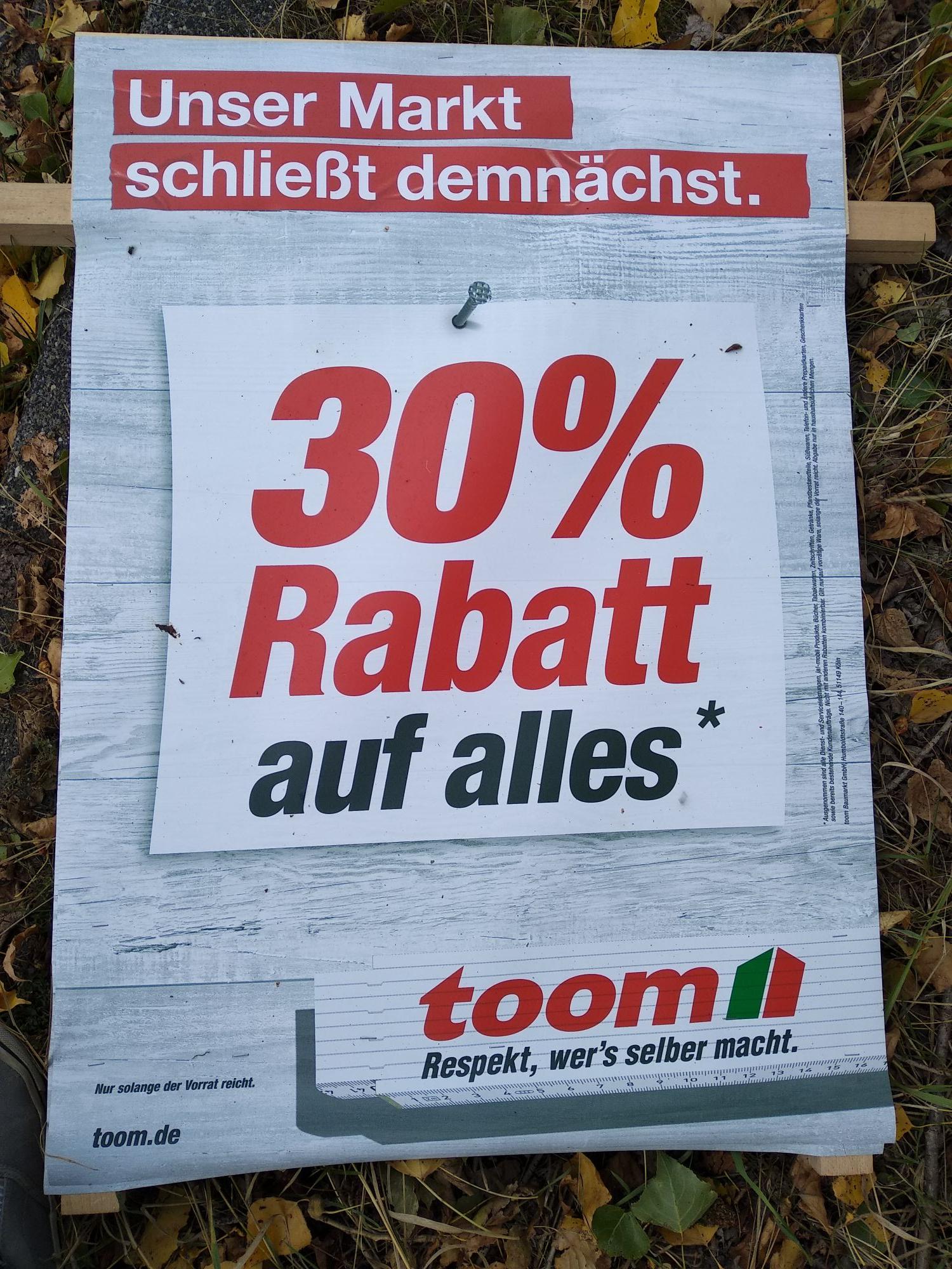 30% auf alles bei Toom in Stolberg-Breinig (wegen Marktschließung)