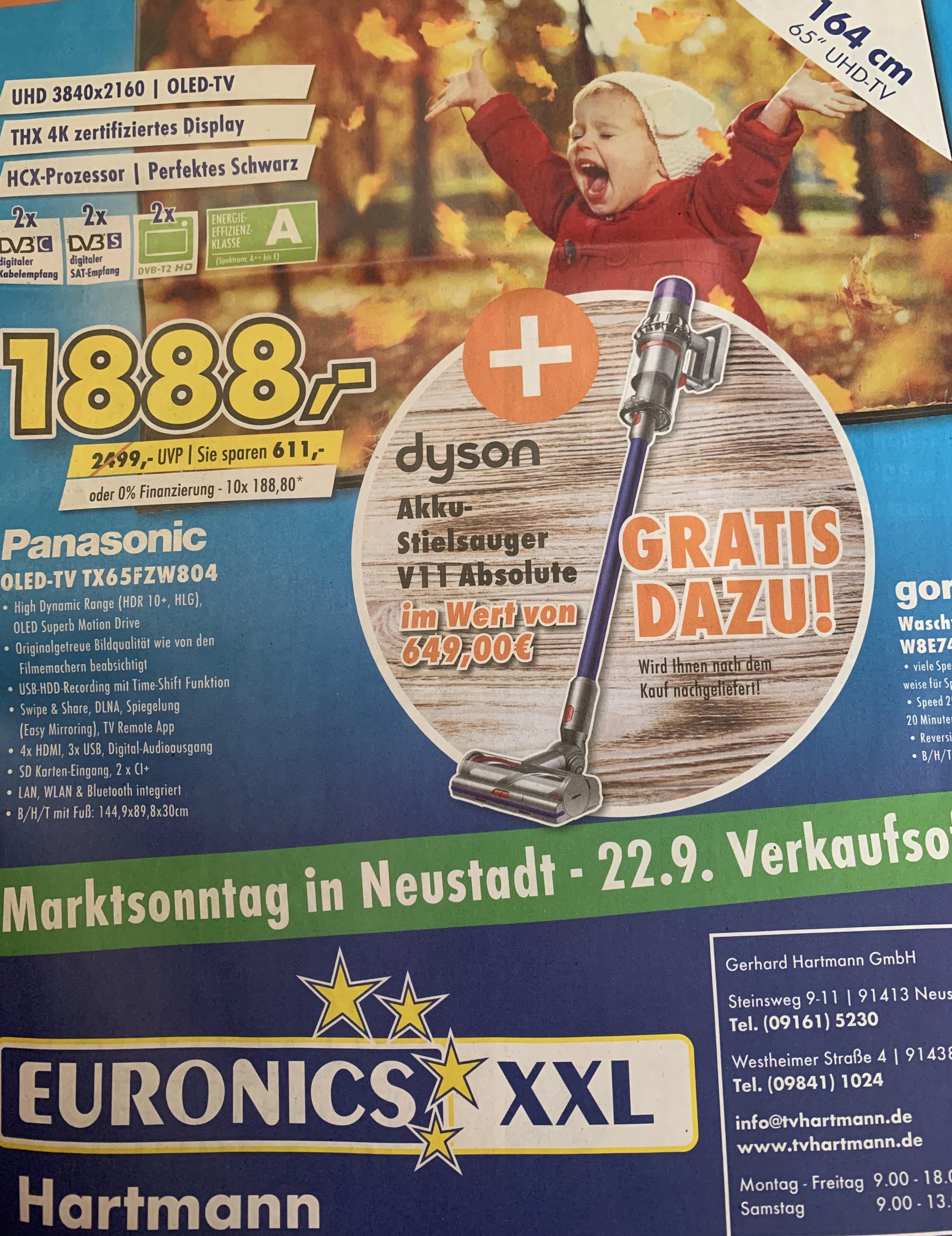 [EURONICS XXL Lokal] Panasonic TX 65FZW804 + Dyson V11 Absolute