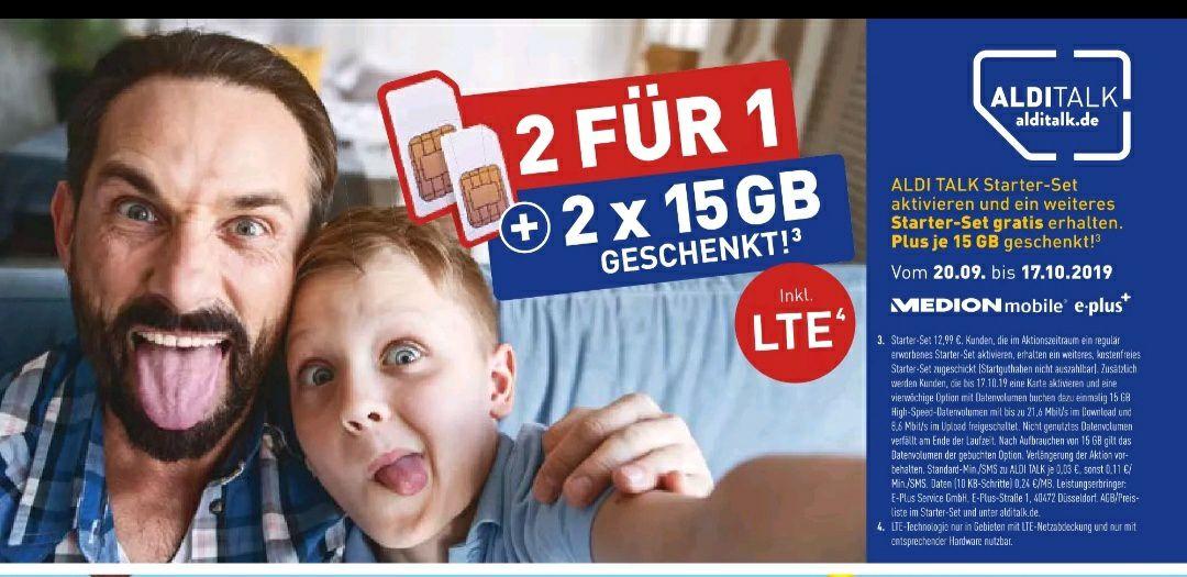 [20.09-17.10.2019] 1 Aldi Talk Starter Set kaufen + 1 Starter Set gratis per Post ggf je 15 GB gratis