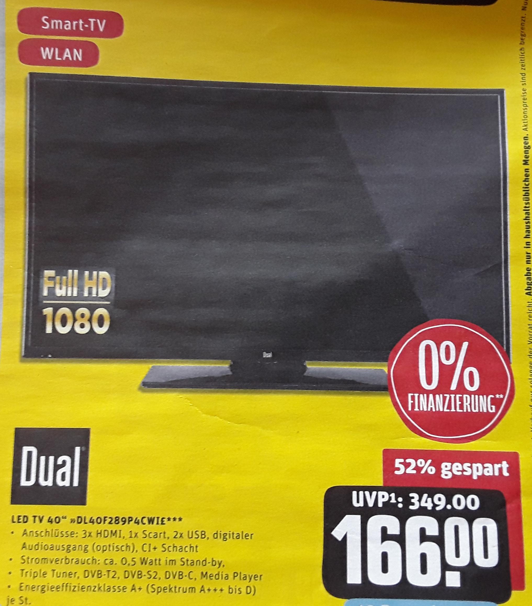 Dual 40 Zoll Full-HD-LED-Smart-TV DL40F289P4CWIE , Tripletuner, für 166 € (157,30 € möglich) @ Rewe-Center ab 16.09.