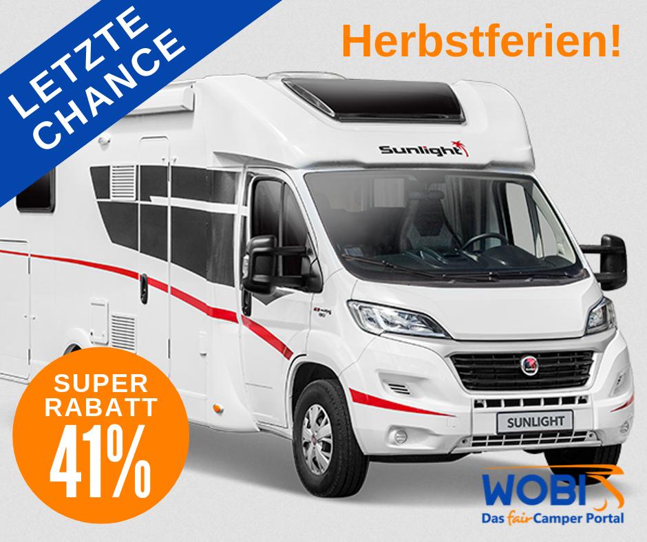 Wohnmobil mieten Bremen - [ WOBI.de ] - 19 Nächte in Herbstferien 1.022,-EUR - versch. Modelle 2 bis 6 Personen