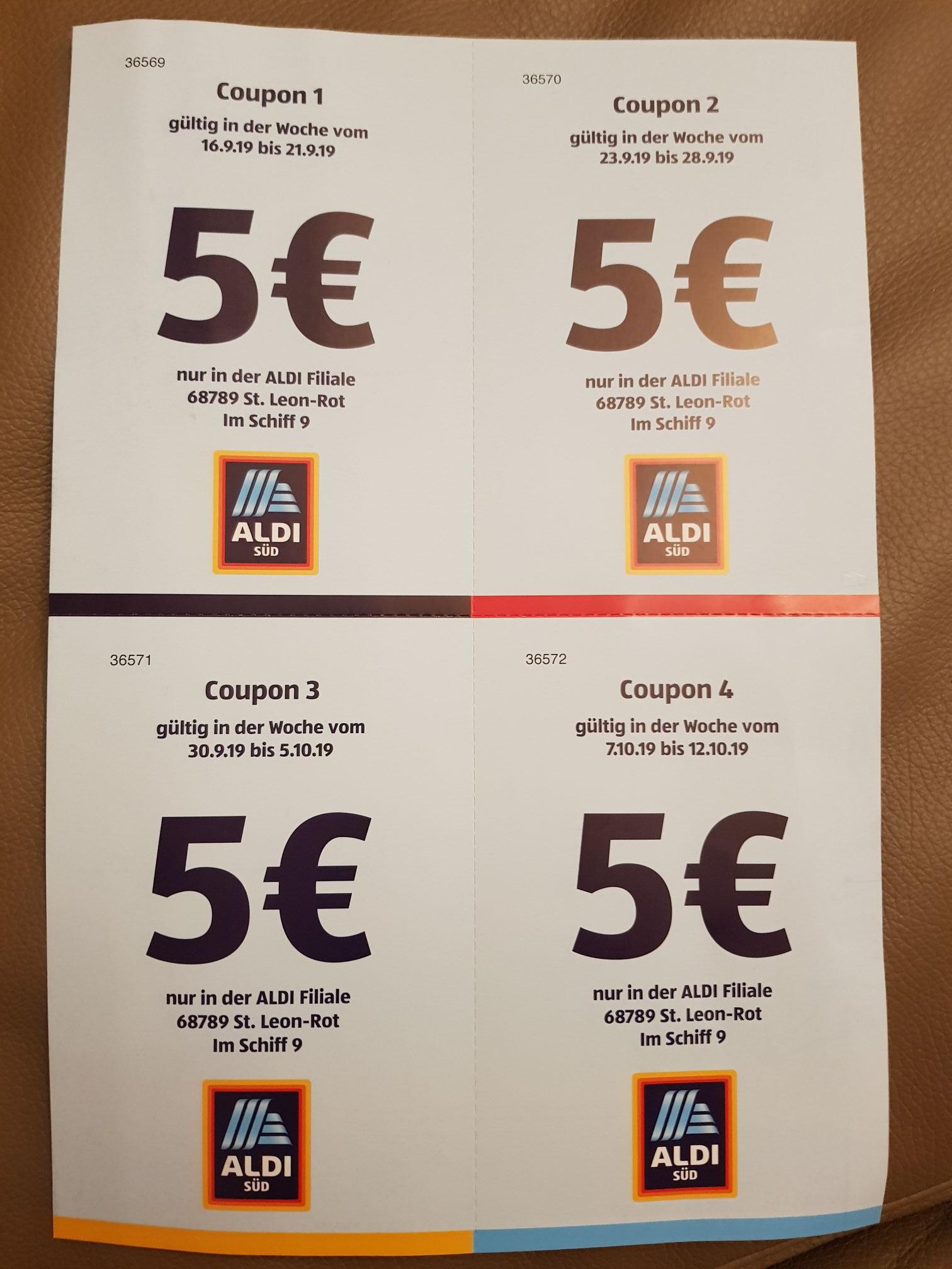 [Lokal St. Leon-Rot] Aldi Süd 5 € Rabatt ab 40€ Mbw
