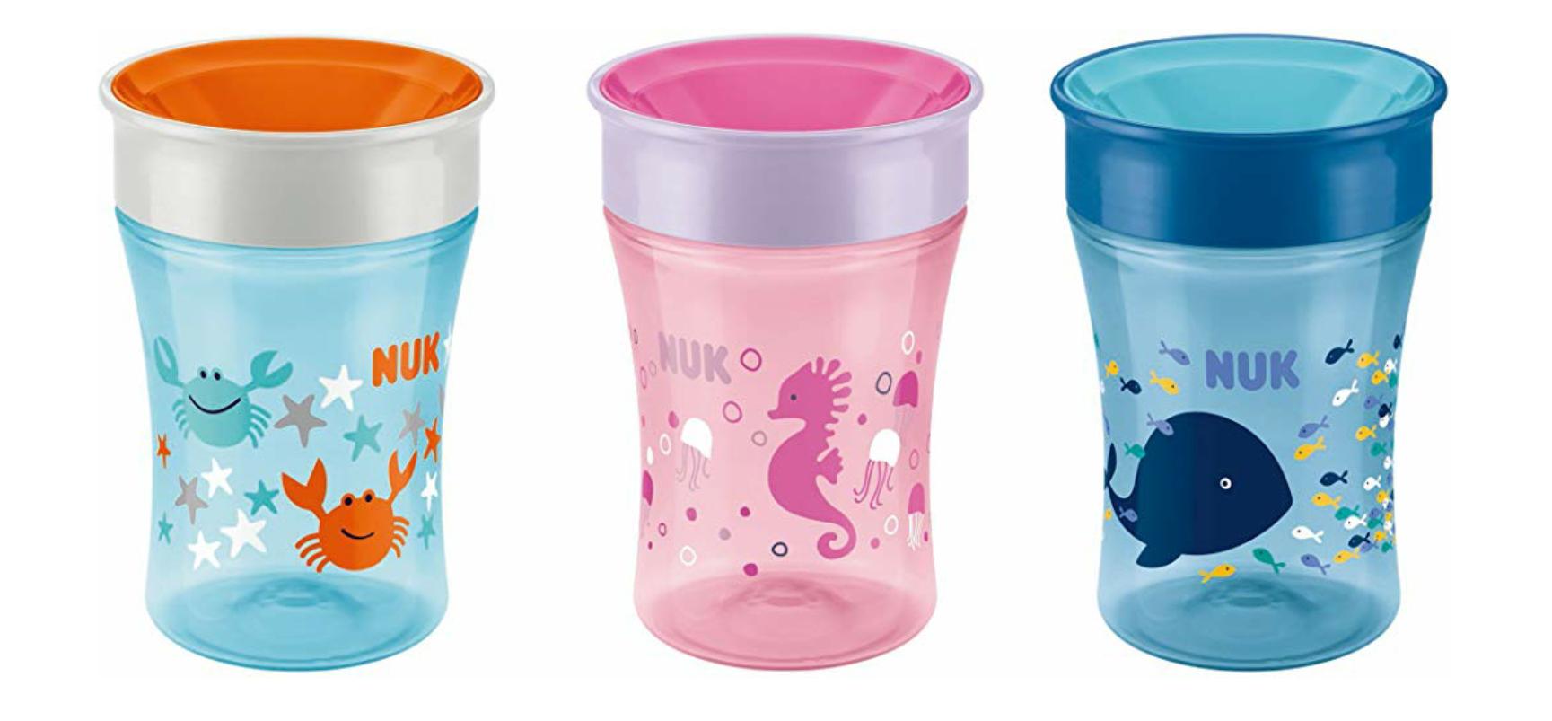 NUK Magic Cup Trinklernbecher, 360° Trinkrand, auslaufsicher, 230ml, Silikon, BPA-frei, vers. Designs // 2er-Pack m. Deckel 13,08€ [Prime]