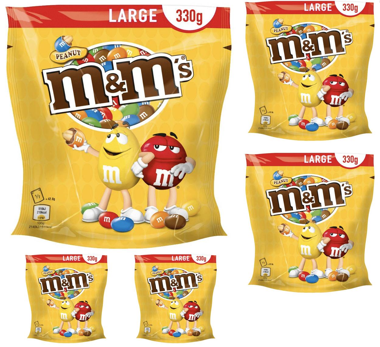 M&M'S Peanut oder Schoko, 5er Pack (5 x 330g Beutel) oder 5x 281g Crispys für 12,74€ [Amazon Prime Sparabo]