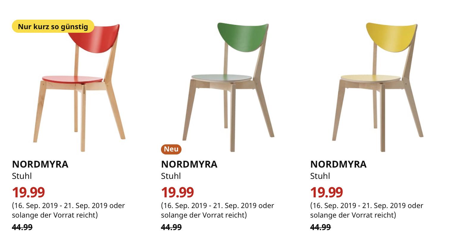 (IKEA Bremerhaven) NORDMYRA Stuhl rot grün oder gelb
