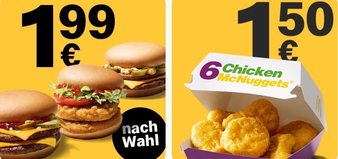 6er Chicken Nuggets für 1,50€ oder Doppelburger für 1,99€ [McDonalds App]