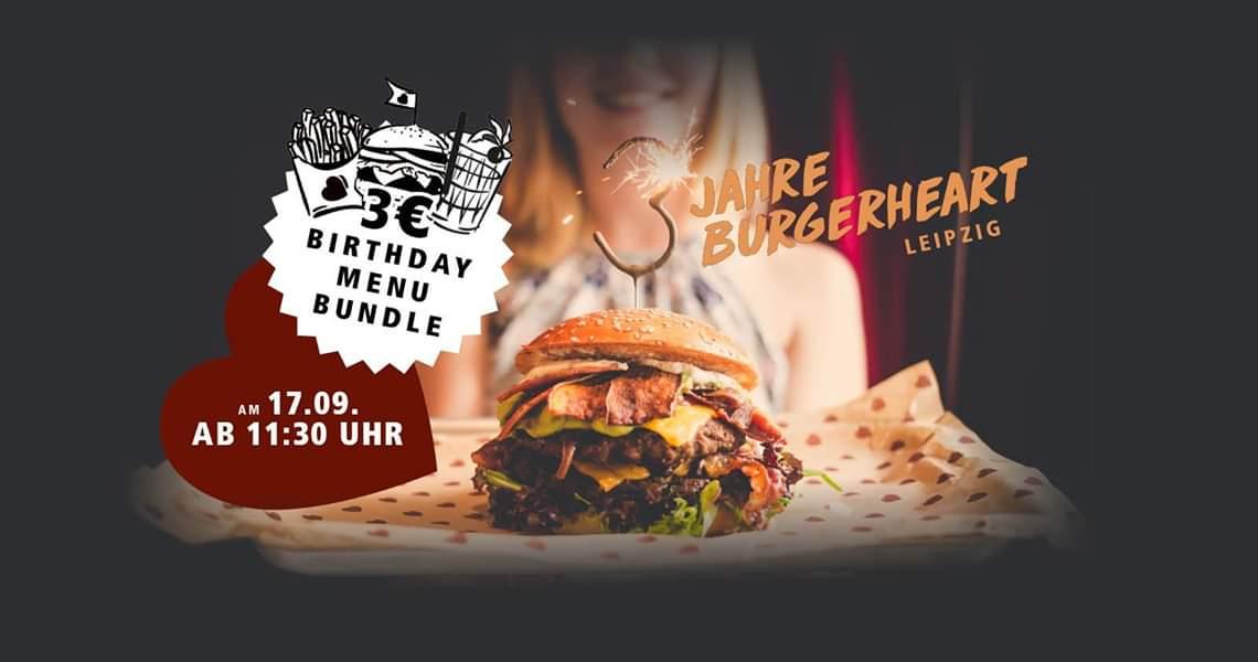 [lokal] Burger Menü mit Fritten & Eistee für 3€ @ Burgerheart Leipzig am 17.09.
