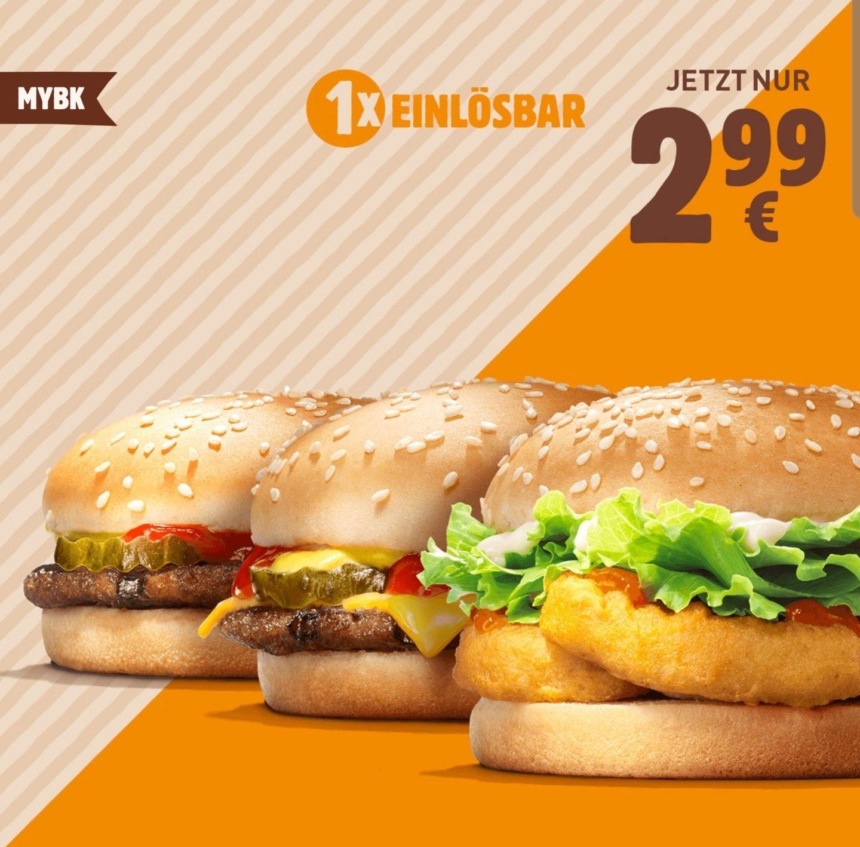 Hamburger + Cheeseburger + Chicken Nugget Burger o. 2x Chili Cheese Burger + mittlere Pommes für 2,99€ [Burger King MyBK]