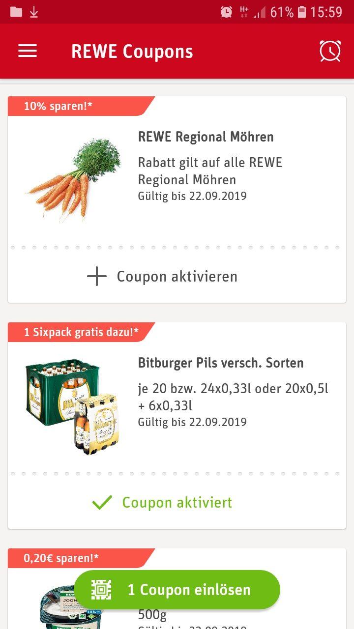 Bitburger Rewe Six pack gratis mit nutzung der app von rewe (beim Kauf einer Kiste)