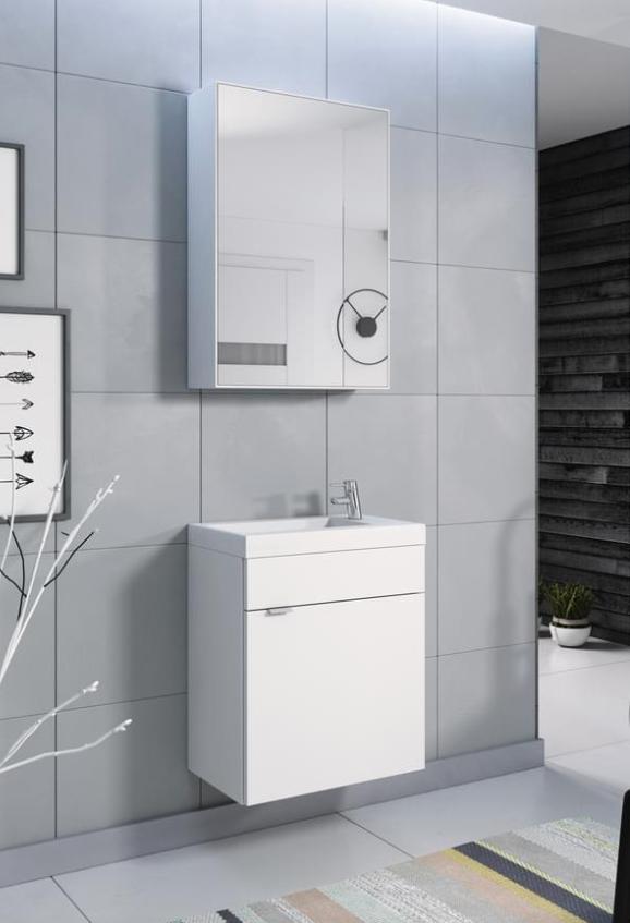 2-teiliges Badmöbel-Set Mia in Weiss mit Hängeschrank, Waschbecken und Unterschrank