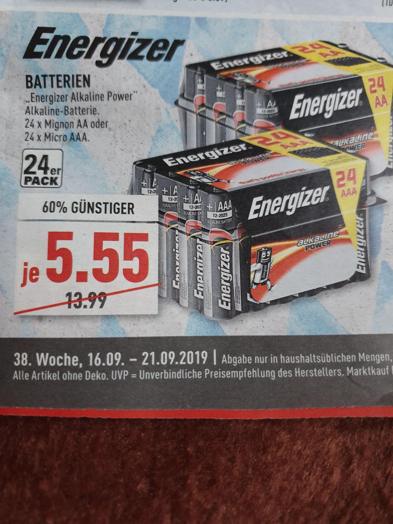 (Marktkauf) 24 Energizer Batterien Alkaline Power Mignon AA oder Micro AAA für 5,55€