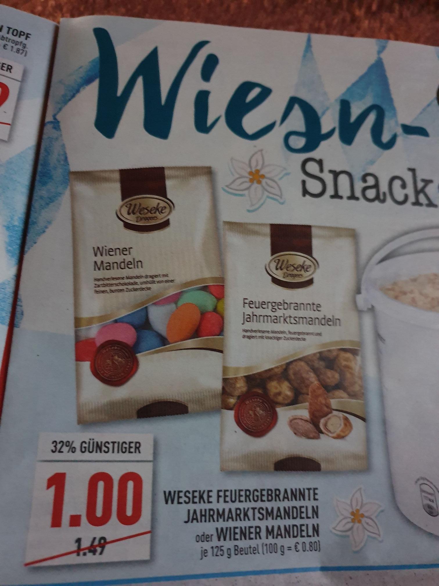 (Marktkauf) Feuergebrannte Jahrmarktsmandeln oder Wiener Mandeln 125g für 1€