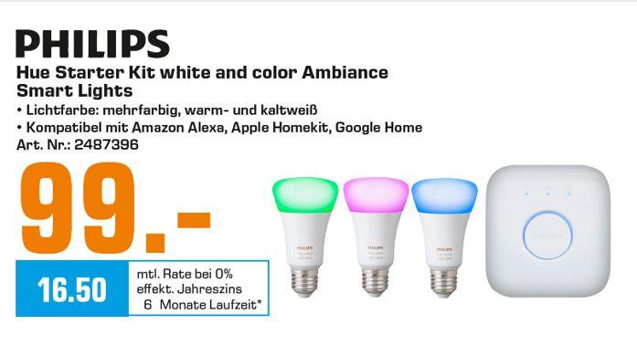 [Regional Saturn Kiel ab 18.09] PHILIPS Hue White und Color Ambiance E27 L 3. Generation Starter Kit für 99,-€