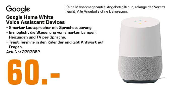 [Regional Saturn Kiel ab 18.09] Google Home Smart Speaker Lautsprecher Smart Home mit Sprachsteuerung Weiß für 60,-€