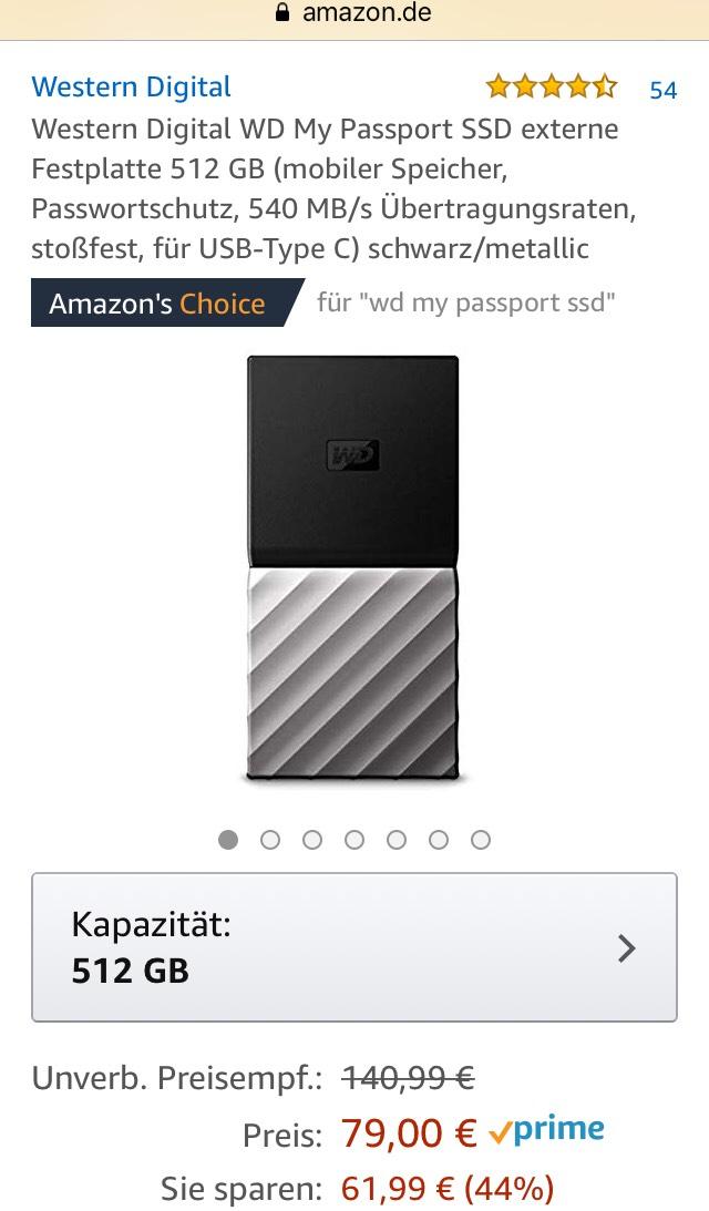 [Amazon] WD my Passport 512 GB portable SSD