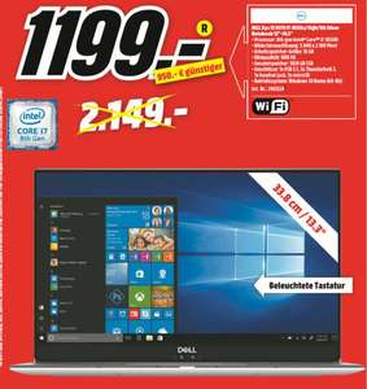 """[Regional Mediamarkt Saarlouis] Dell XPS 13 9370 / 13,3"""" UHD Touch / Intel Core i7-8550U / 16GB RAM / 1000GB SSD / Win 10 für 1199,-€"""