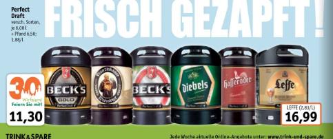 Perfect Draft Fässer Becks, Hasseröder, Diebels, Franziskaner bei Trink & Spare [NRW]
