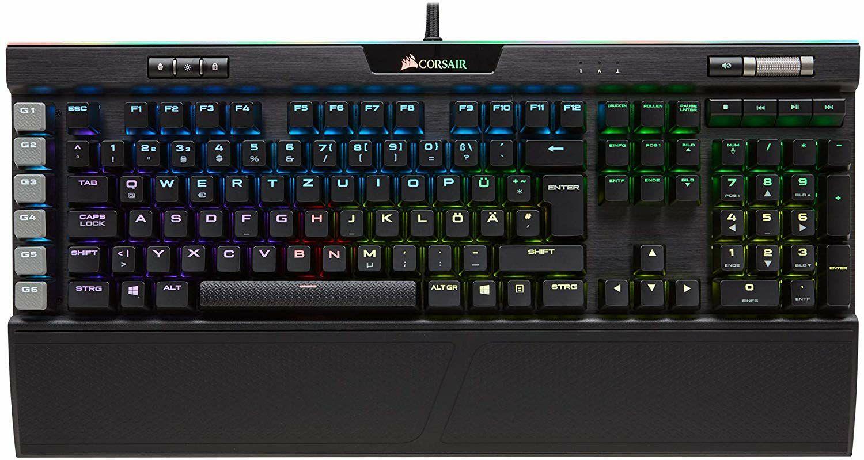 Corsair K95 RGB Platinum Mechanische Gaming Tastatur (Cherry MX Brown: Taktil und Leise, Multi-Color RGB Beleuchtung, QWERTZ) schwarz
