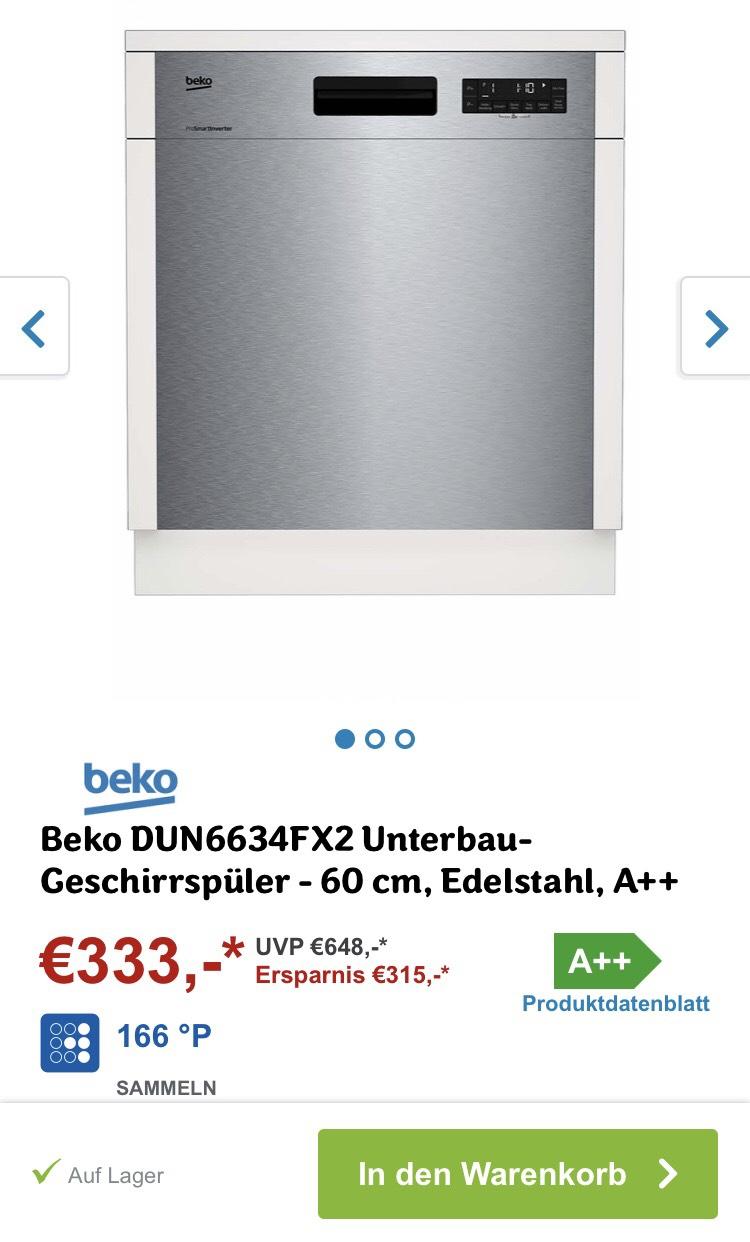 Beko DUN6634FX2 Unterbau Geschirrspüler