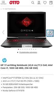 HPOMEN 17-an106ng Notebook (43,9 cm/17,3 Zoll, GTX 1070, Intel Core i7 8750H, 16 GB RAM (2×8GB),1000 GB HDD, 256 GB SSD)