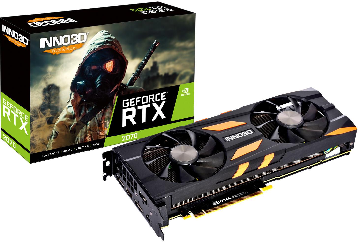 Nvidia-Angebote: z.B. Inno3D GeForce RTX 2070 X2 OC (1410/1755MHz, 8GB GDDR6, HDMI, 3x DP, USB-C mit DP, 2x 90mm-Axial-Lüfter, Dual-Slot)