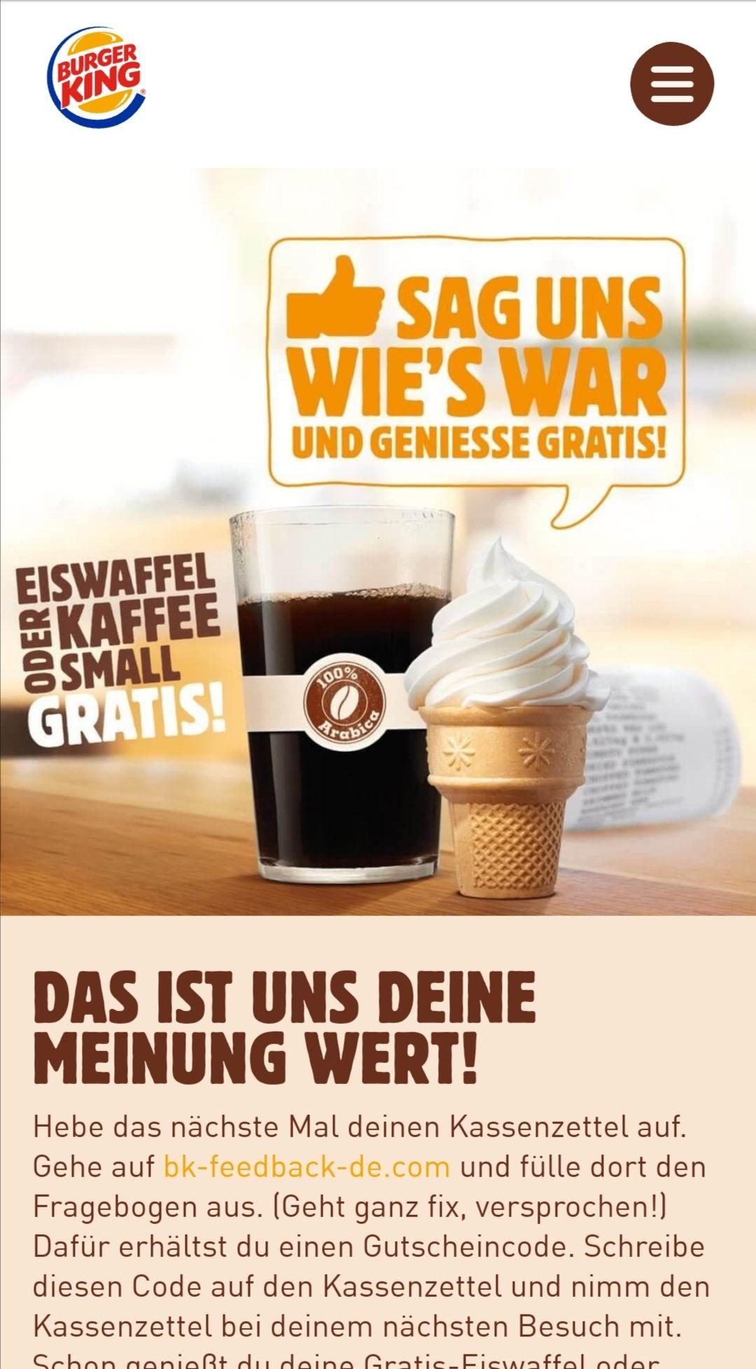 Gratis Eis oder Kaffee bei Burger King durch Kassenbon
