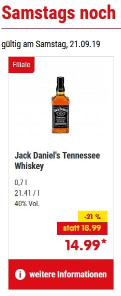 Netto / Jack Daniels Whiskey 0,7L am Sa. 21.09