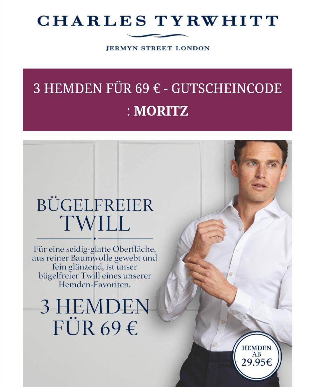 3 Twill Hemden Charles Tyrwhitt CT für 69€ plus Versand