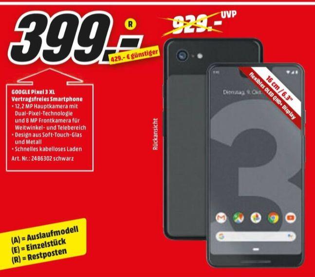 [Regional Mediamarkt Gießen] Google Pixel 3XL 64GB 6.3 Zoll (16 cm) Single-SIM Android™ 9.0 12.2 Mio. Pixel Schwarz für 399,-€