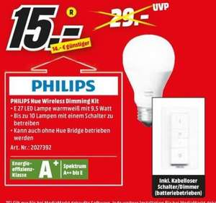 [Regional Mediamarkt Gießen] PHILIPS 45252300 Philips Hue White Wireless Dimming Kit LED E27 9,5W für 15,-€