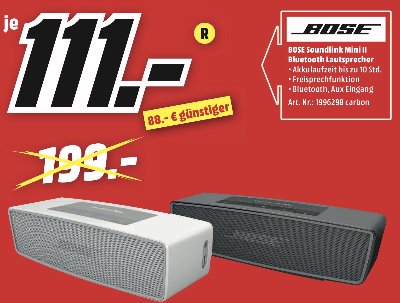 Lokal MediaMarkt Egelsbach: Bose SoundLink Mini II Bluetooth Lautsprecher für 111€