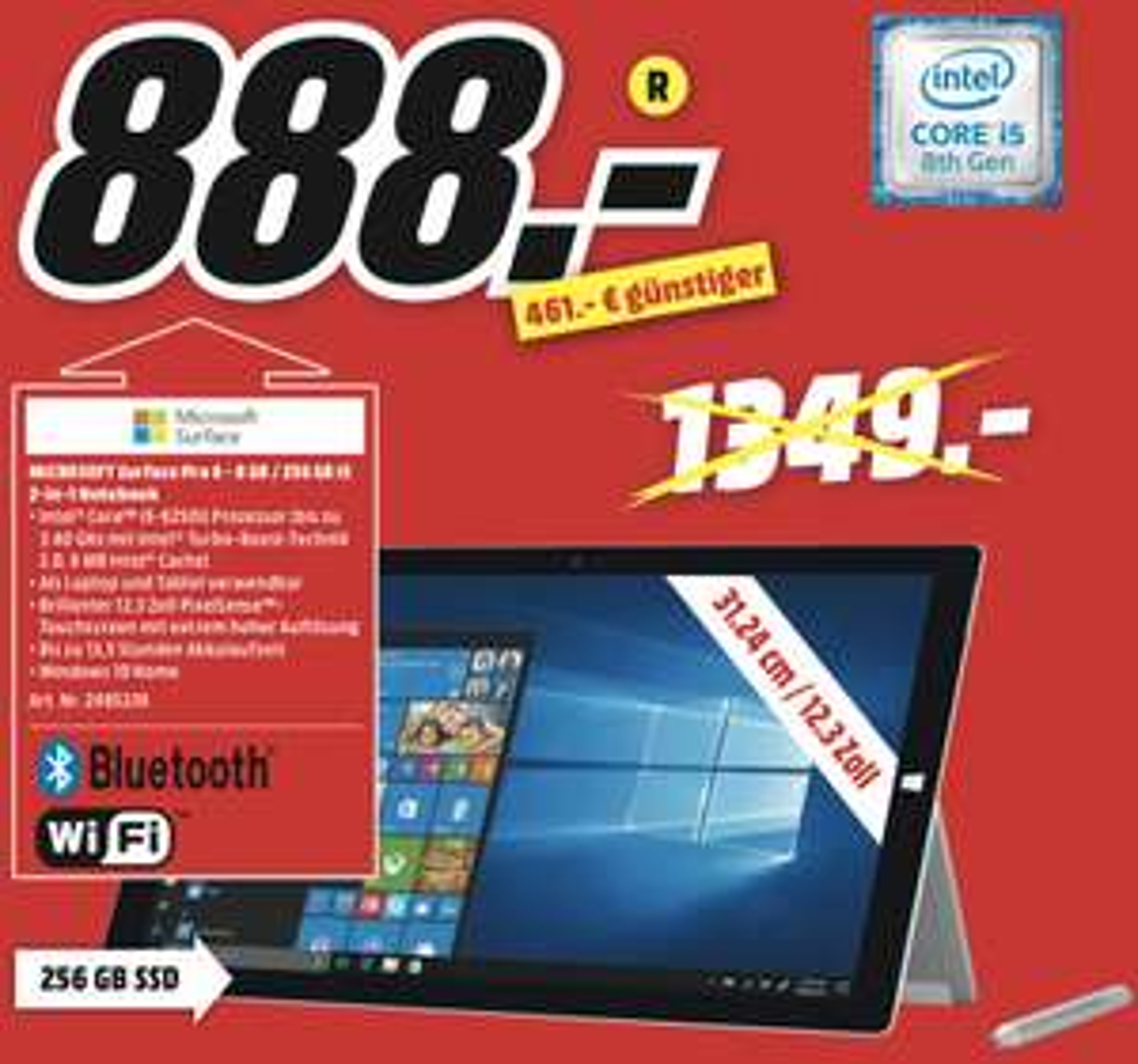 Lokal MediaMarkt Hameln: Microsoft Surface Pro 6 Core i5 8GB 256GB für 888€ / OK 40 Zoll 101cm Full-HD LED TV für 99€