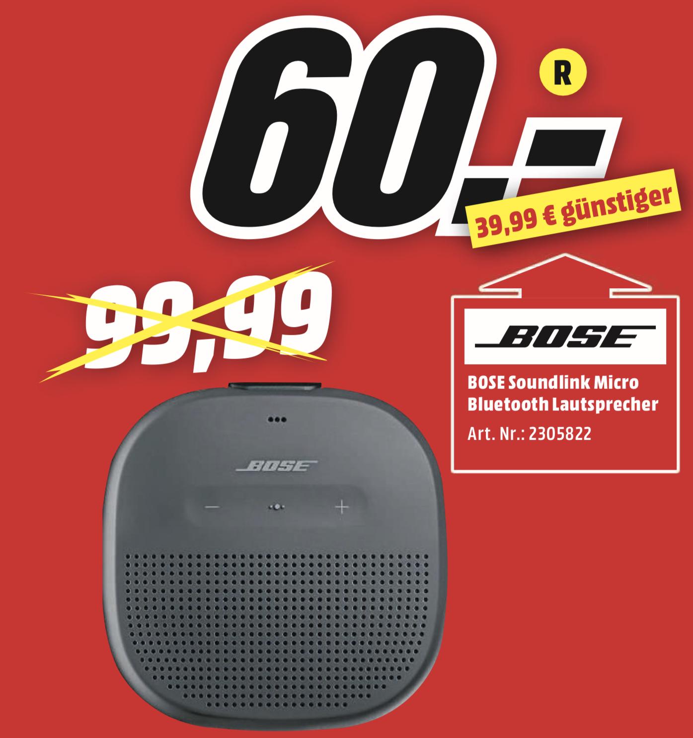Lokal MediaMarkt Holzminden: BOSE SoundLink Micro für 60€