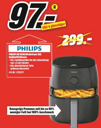 [Regional Mediamarkt Schwerin] PHILIPS HD 9630/90 Airfryer XXL Fritteuse, Schwarz für nur 97,-€