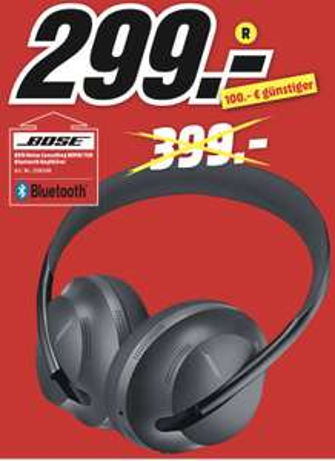 Lokal MediaMarkt Main-Taunus-Zentrum: BOSE Headphones 700 Noise Cancelling Kopfhörer für 299€