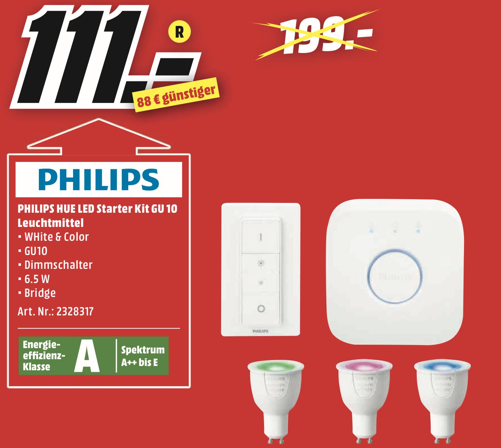Lokal MediaMarkt Neubrandenburg: Philips HUE White & Color GU10 Starter Set mit Bridge u. Dimmschalter für 111€