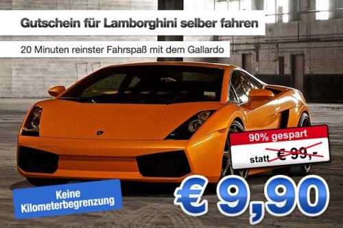 Lamborghini 20 Minuten Fahren ohne Kilometerbegrenzung für 9,90€+50€ Benzin