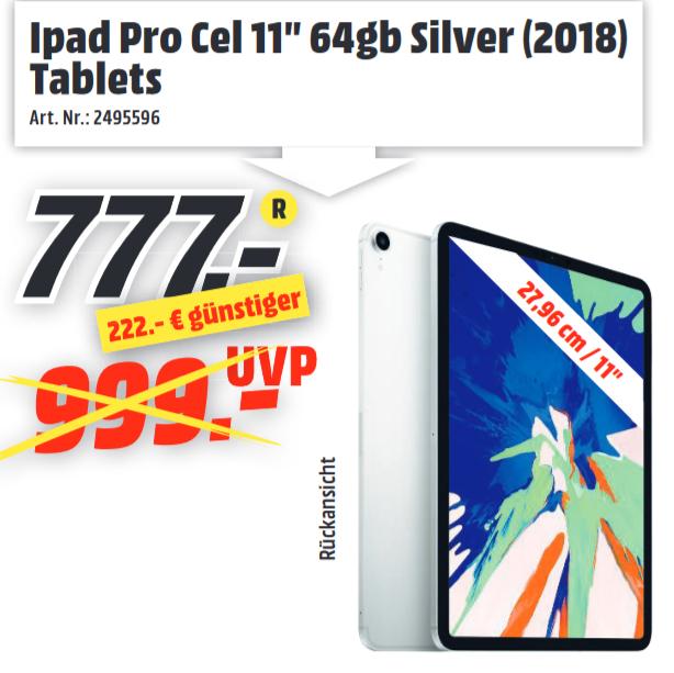 """[Lokal: Media Markt Idar-Oberstein] Apple iPad Pro 11"""" 64GB, LTE, silber [2018]"""
