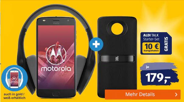Motorola Moto Z2 Play (schwarz und gold) inkl. JBL SoundBoost 2 + BT Kopfhörer Motorola Escape + 10€ Startguthaben (Alditalk)