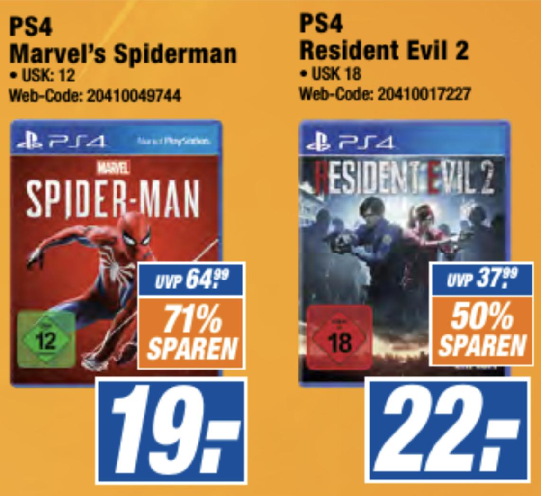 Lokal Expert Queckenberg: Marvel Spider-Man PS4 für 19€ / NBA 2K19 für 15€ usw.