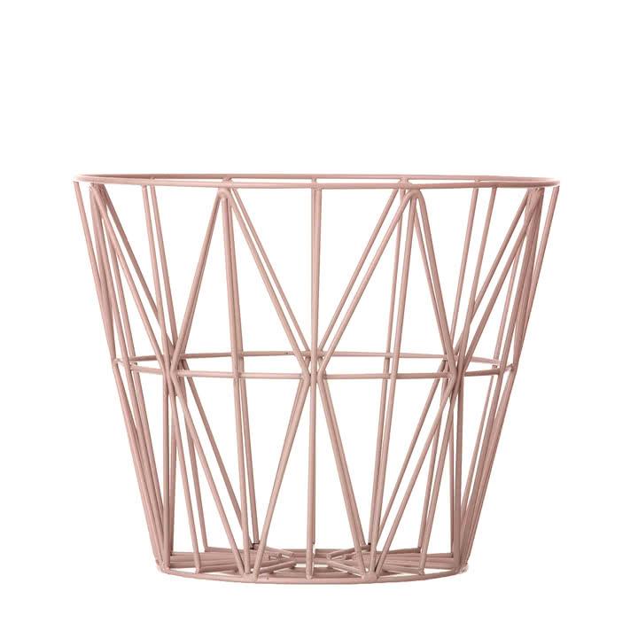 Wire Basket von Ferm living (small, rose) - schöner Aufbewahrungskorb und Couchtisch in vielen Größen und mit Tischplatten [Connox]