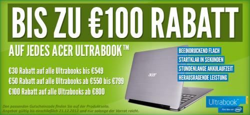Auf jedes Acer Ultrabook bis zu 100€ Rabatt@notebooksbilliger.de
