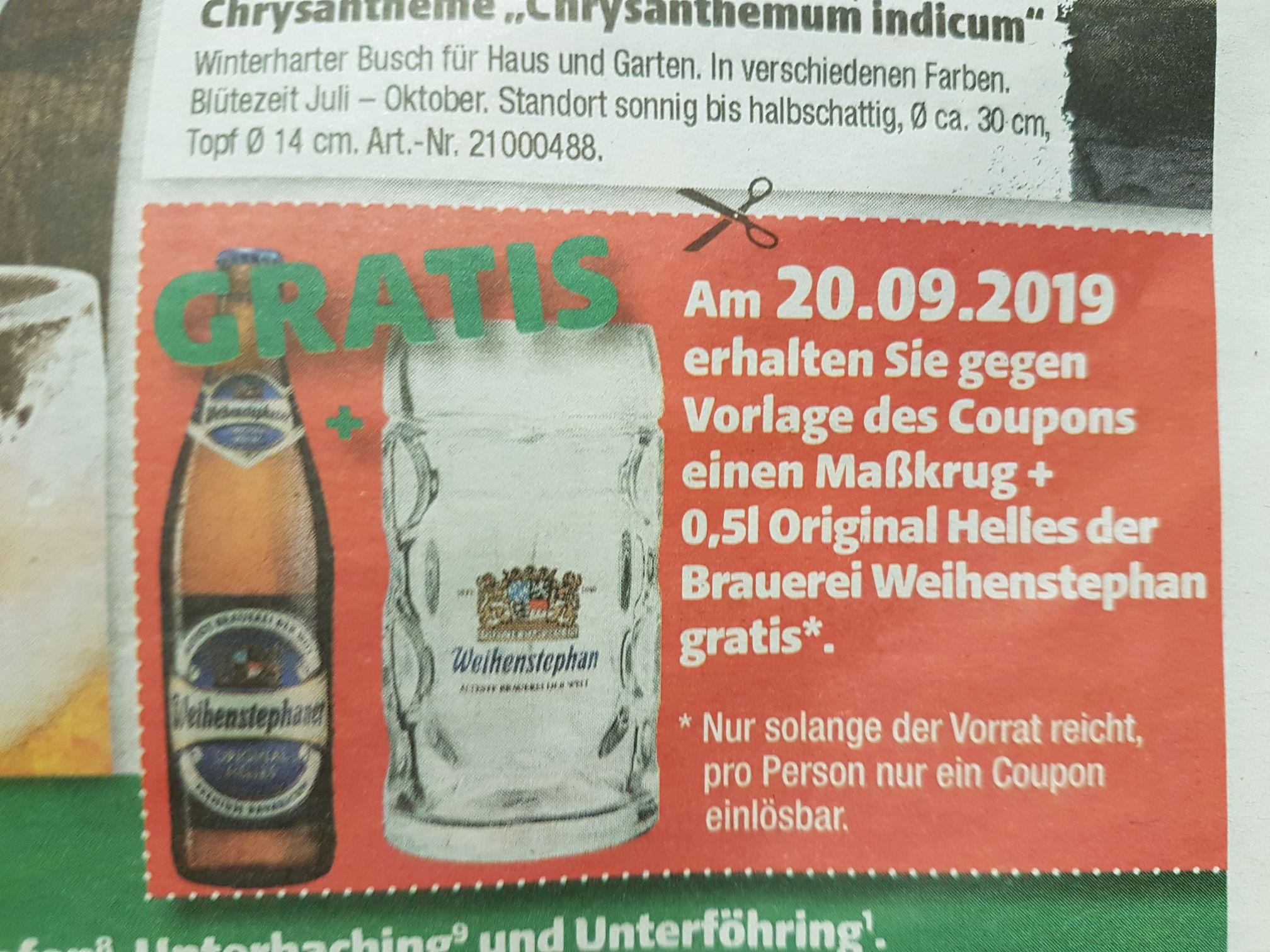 LOKAL München - Bei Hagebaumarkt gratis Maßkrug + Bier