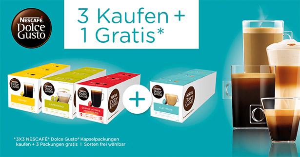 Nescafe Dolce Gusto Kapseln 3+1 Aktion bei Amazon