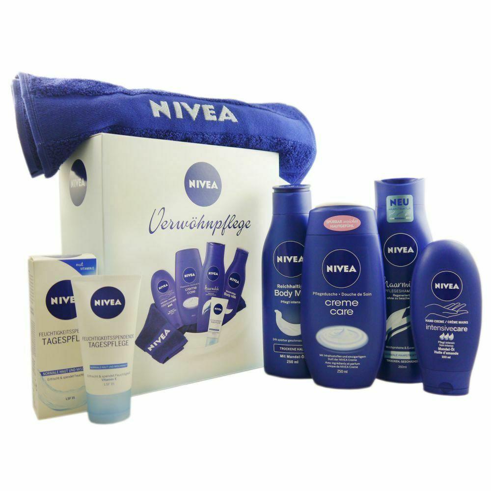 [EBAY Deal inkl. VSK] NIVEA 6tlg Set Tagespflege & Bodymilk & Shampoo & Handtuch