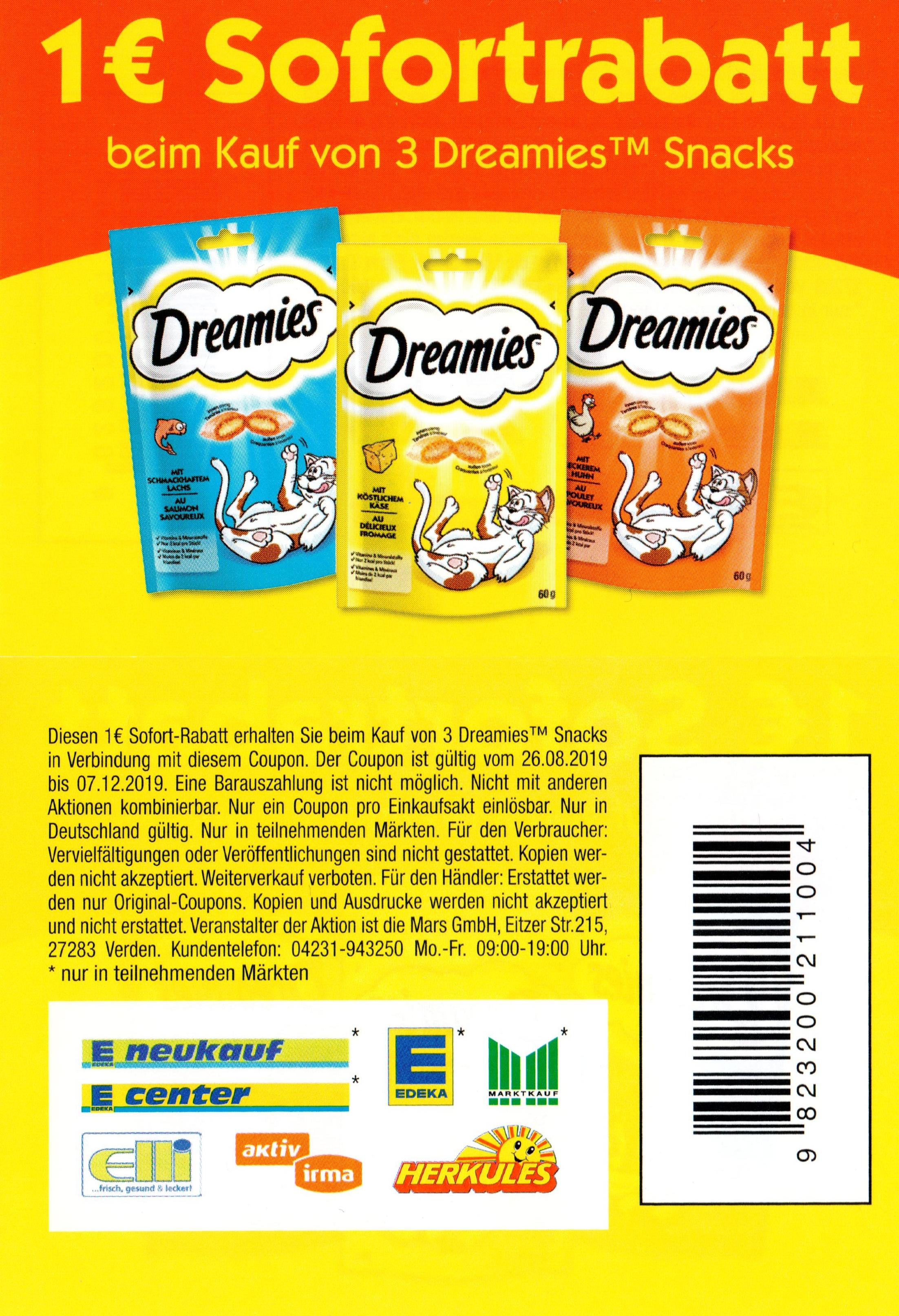 1,00€ Rabatt Coupon für den Kauf von 3 Packungen Dreamies Snacks bis 07.12.2019