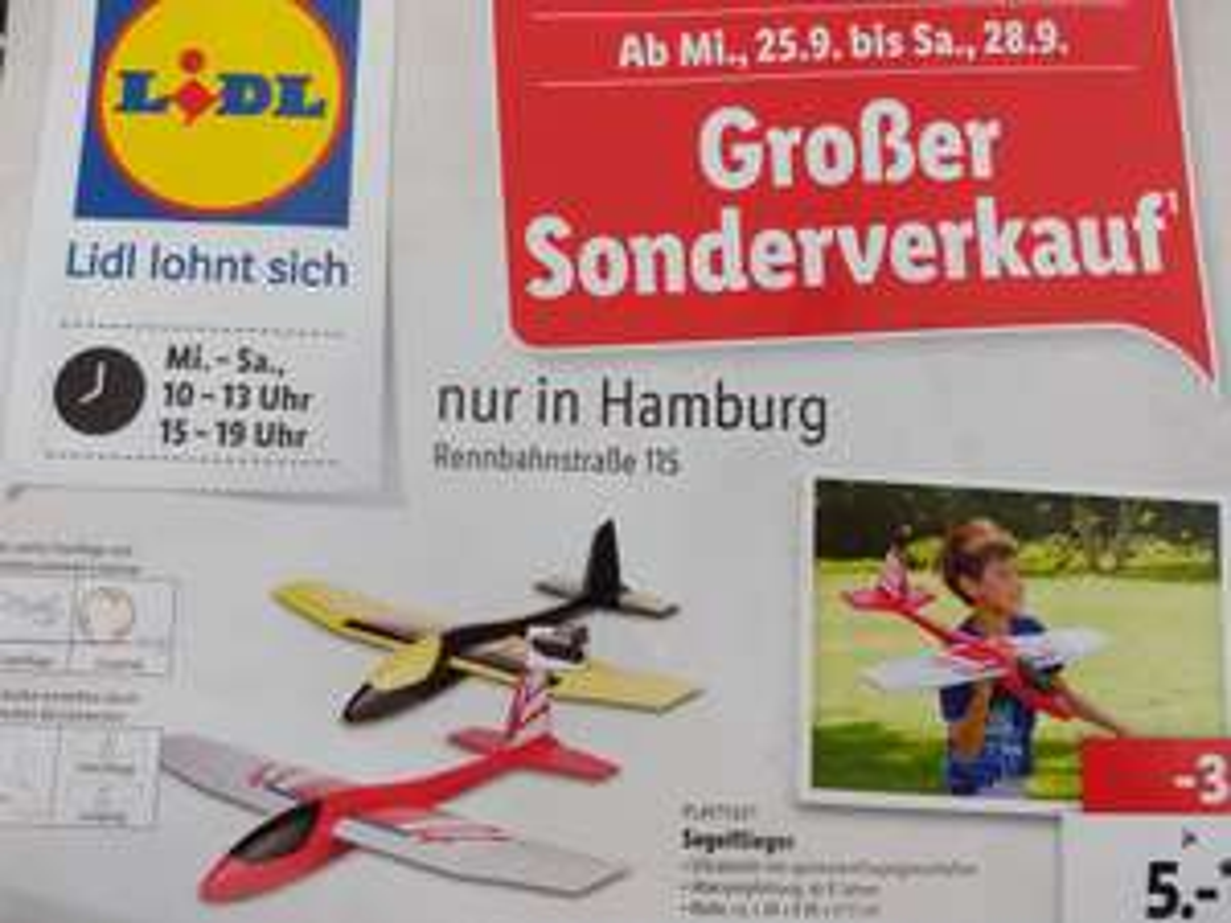 [Lokal] [Hamburg] LIDL Sonderverkauf Rennbanstraße 115 -  Wurfgleiter (Playtive) Segelflieger