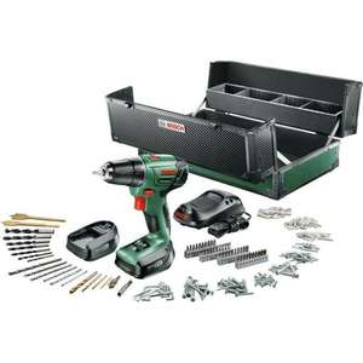 Bosch PSR 1440 LI 2 Akku-Bohrschrauber mit 2 1,5 Ah-Akkus, Ladegerät, Toolbox und 241 tlg. Zubehör